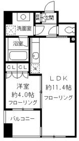 ニューシティアパートメンツ千駄ヶ谷Ⅱ5階Fの間取り画像