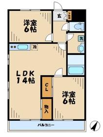 エクレール(松木)2階Fの間取り画像