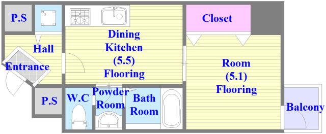 グランスイート バストイレがセパレート、独立洗面所のある使い易い間取りです。