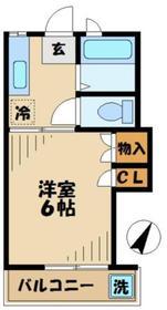 コーポベルグ2階Fの間取り画像