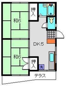 第1ハイツ石川1階Fの間取り画像