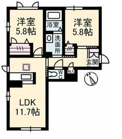 ラミメール1階Fの間取り画像