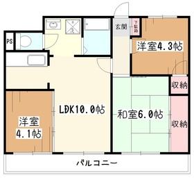 ドミール八坂3階Fの間取り画像