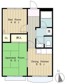 グリーンヴィラ2階Fの間取り画像