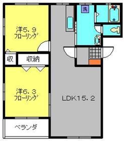 セシオン橘2階Fの間取り画像