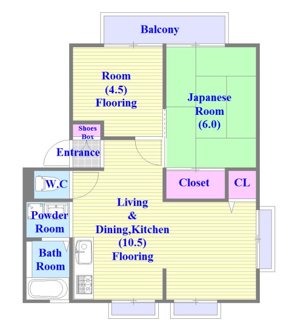 サンビレッジ・ラポール セパレートで和室もありファミリータイプにはおススメの間取です。