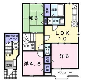 ヴェルトゥメゾン2階Fの間取り画像