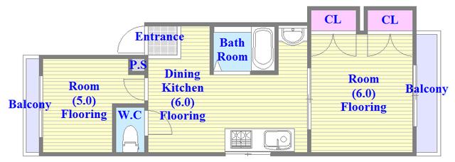 日伸ビル 人気の全室フローリング。使いやすいゆったりとした間取り。