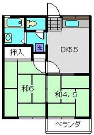 コーポふじまき2階Fの間取り画像