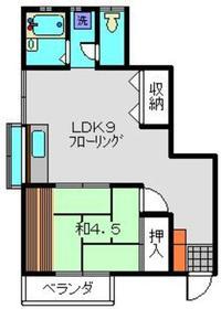 大丸ハイツ2階Fの間取り画像