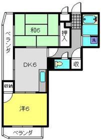 グランメールカヤの木2階Fの間取り画像