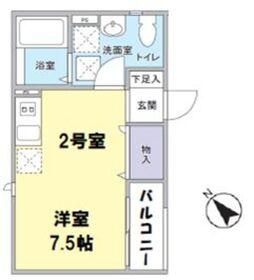 品川駅 徒歩17分2階Fの間取り画像