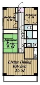 本厚木ロイヤルマンション2階Fの間取り画像