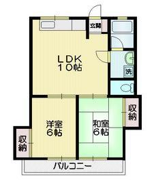 第3グレイスマンション2階Fの間取り画像