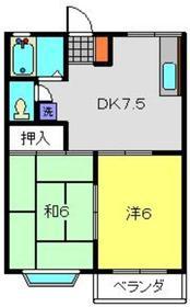 メゾンドエスティーム2階Fの間取り画像
