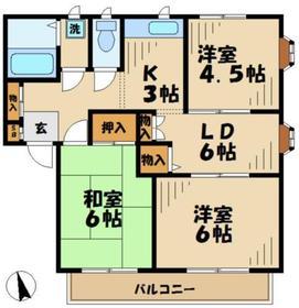 メゾンドU2階Fの間取り画像