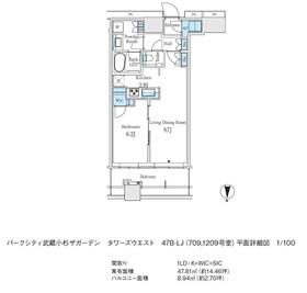 武蔵小杉駅 徒歩6分7階Fの間取り画像