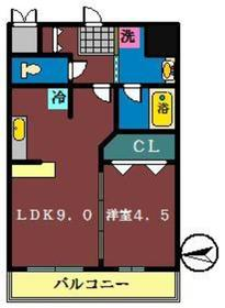 プレジール船橋本町3階Fの間取り画像