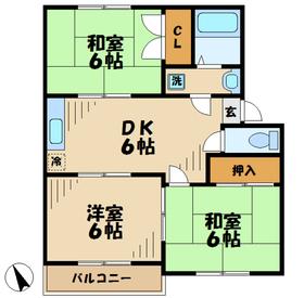 スプリングドエル3階Fの間取り画像