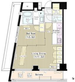 六本木エムケイアートレジデンス5階Fの間取り画像