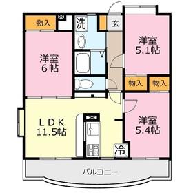 ミルフィーユふじみ野弐番館1階Fの間取り画像