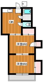 ふじがみ荘2階Fの間取り画像