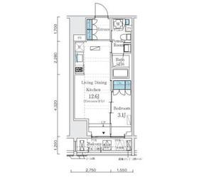 インプレストレジデンス上野 ジ アーキテクト9階Fの間取り画像