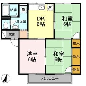 ハッピネス三宅 A2階Fの間取り画像