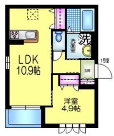 星谷ハイム六番館2階Fの間取り画像