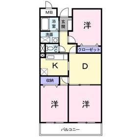 シャン・ド・フルールA3階Fの間取り画像