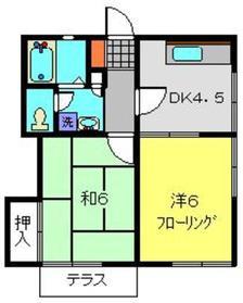 大岡ハイツ1階Fの間取り画像