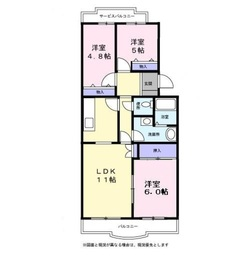 上郷・表ハイツ4階Fの間取り画像