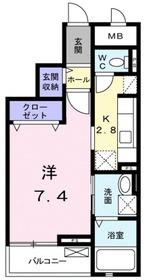 クレール茅ヶ崎Ⅱ4階Fの間取り画像