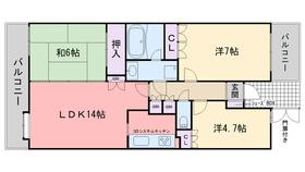 姪浜パーク・ホームズ6階Fの間取り画像