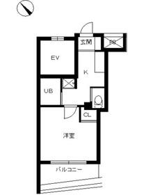 スカイコート品川仙台坂8階Fの間取り画像