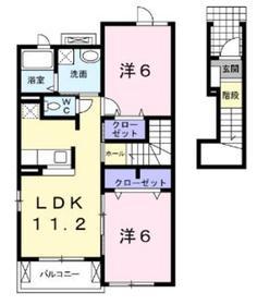 本厚木駅 バス14分「毛利台」徒歩6分2階Fの間取り画像