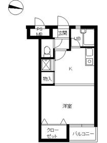 スカイコート五反田2階Fの間取り画像