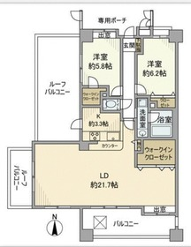 ライオンズガーデン武蔵小杉5階Fの間取り画像
