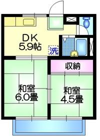 メゾン加賀2階Fの間取り画像