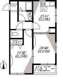 ドルチェ梅屋敷2階Fの間取り画像