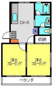 カワイコーポ2階Fの間取り画像