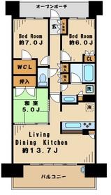 ブリリア多摩ニュータウンB棟9階Fの間取り画像