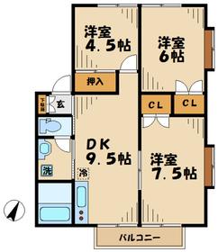ルーミー唐木田2階Fの間取り画像