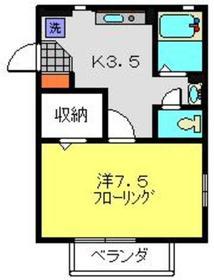 レジデンスツルミ1階Fの間取り画像