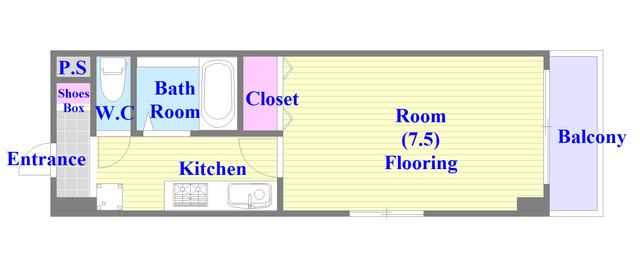 サンピリア小阪 うれしいバス・トイレがセパレートの単身さん向けの間取りです。