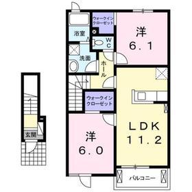 カーサ・フィオーレⅠ2階Fの間取り画像