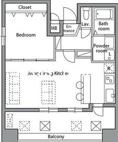 レジディア神楽坂12階Fの間取り画像