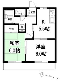 山伏ハイツ2階Fの間取り画像