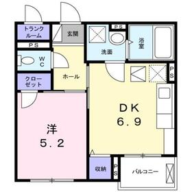 本厚木駅 バス30分「運輸支局入口」徒歩3分2階Fの間取り画像