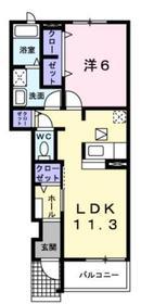 オヴァーグ1階Fの間取り画像